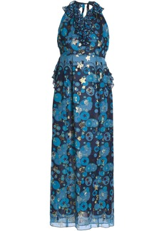 Anna Sui Woman Metallic Printed Silk-blend Fil Coupé Halterneck Gown Azure