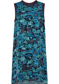 Anna Sui Woman Metallic-trimmed Printed Silk-jacquard Mini Dress Teal