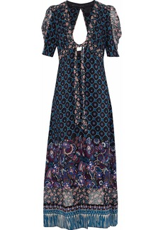 Anna Sui Woman Open-back Printed Silk Kimono Indigo