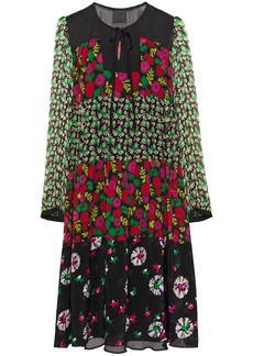 Anna Sui Woman Paneled Floral-print Silk-chiffon Crepe And Georgette Dress Black