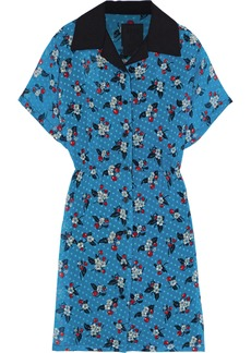 Anna Sui Woman Printed Fil Coupé Chiffon Mini Shirt Dress Azure