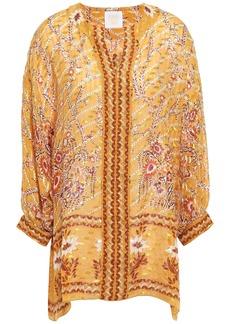 Anna Sui Woman Printed Fil Coupé Silk-blend Tunic Marigold