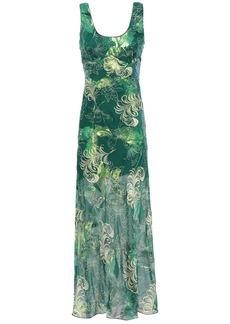Anna Sui Woman Printed Metallic Fil Coupé Silk-blend Maxi Dress Forest Green