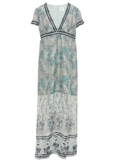 Anna Sui Woman Printed Metallic Fil Coupé Silk-blend Maxi Dress Grey Green