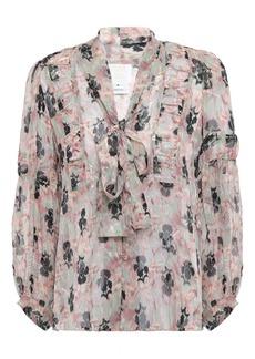 Anna Sui Woman Pussy-bow Metallic Floral-print Fil Coupé Silk-blend Blouse Pastel Pink