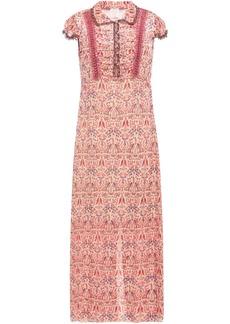 Anna Sui Woman Ruched Metallic Printed Fil Coupé Chiffon Maxi Dress Peach