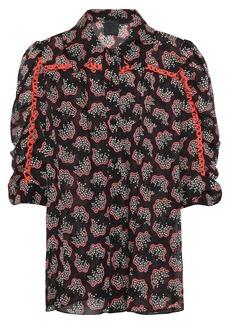 Anna Sui Woman Ruched Printed Chiffon Shirt Black