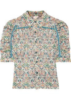 Anna Sui Woman Ruched Printed Fil Coupé Shirt Ivory