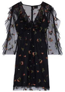 Anna Sui Woman Ruffle-trimmed Embroidered Tulle Mini Dress Black