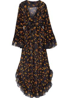 Anna Sui Woman Ruffle-trimmed Metallic Floral-print Silk-georgette Maxi Dress Black