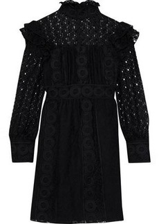 Anna Sui Woman Ruffled Embroidered Cotton-blend Tulle And Guipure Lace Mini Dress Black