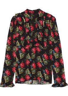 Anna Sui Woman Ruffled Floral-print Cloqué Blouse Black