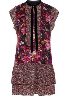 Anna Sui Woman Ruffled Floral-print Jacquard And Chiffon Mini Dress Multicolor