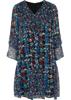 Anna Sui Woman Ruffled Floral-print Silk-blend Georgette Mini Dress Blue