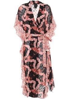 Anna Sui Woman Ruffled Printed Fil Coupé Silk-chiffon Kimono Black