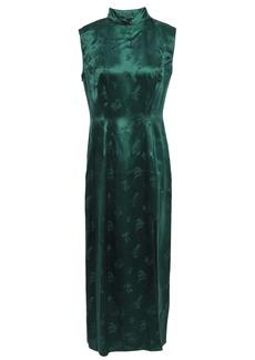Anna Sui Woman Silk-satin Jacquard Midi Dress Emerald