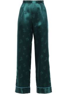 Anna Sui Woman Silk-satin Jacquard Wide-leg Pants Petrol
