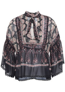 Anna Sui Woman Tie-neck Printed Chiffon Peplum Blouse Black