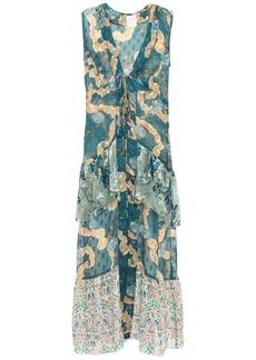 Anna Sui Woman Tiered Fil Coupé Silk-chiffon Vest Petrol