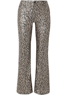 Anna Sui Woman Twinkling Stars At Night Sequined Mesh Wide-leg Pants Gold