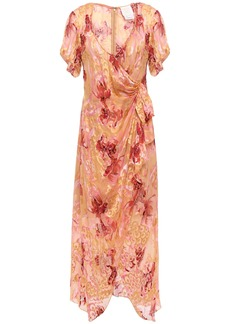 Anna Sui Woman Wrap-effect Floral-print Fil Coupé Silk-blend Midi Dress Peach