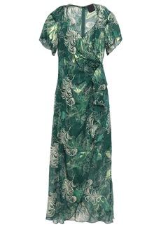Anna Sui Woman Wrap-effect Metallic Fil Coupé Silk-blend Midi Dress Forest Green