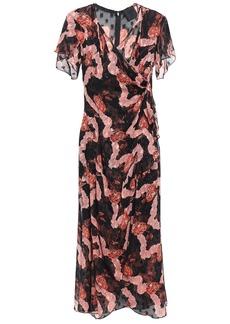 Anna Sui Woman Wrap-effect Printed Fil Coupé Silk-chiffon Midi Dress Black