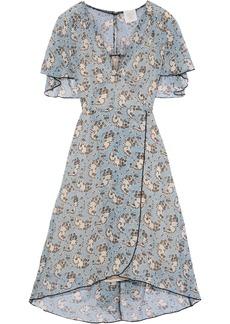 Anna Sui Woman Wrap-effect Printed Silk-chiffon Dress Blue