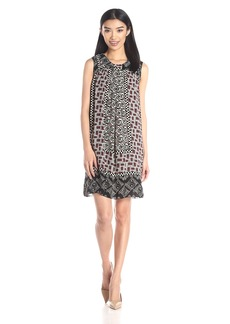 Anna Sui Women's Checkerboard Roses Print Crepe Dress