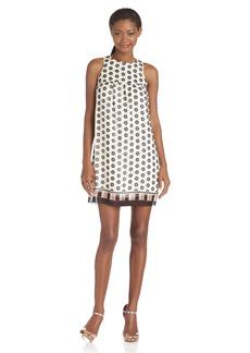Anna Sui Women's Circle Print Silk Chiffon Shift Dress  S