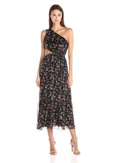 Anna Sui Women's Dreamy Floral Print Metallic Chiffon Dress