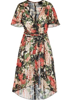 Anna Sui Asymmetric Pleated Floral-print Satin Dress