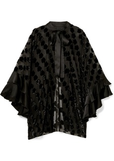 Anna Sui Daisy Delight Satin-trimmed Flocked Chiffon Kimono
