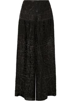 Anna Sui Devoré-chiffon Wide-leg Pants