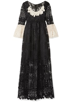 Anna Sui Floral Diamond And Medallion Crocheted Lace Midi Dress