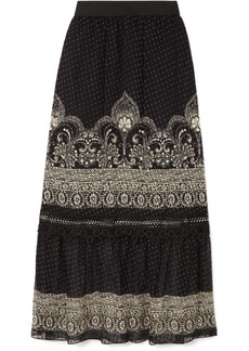 Anna Sui Fountains Of Fancy Printed Fil Coupé Silk-blend Chiffon Maxi Skirt