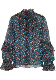 Anna Sui Fruits & Florals Ditsy Daze Floral-print Silk-chiffon Blouse