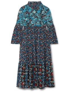 Anna Sui Fruits & Florals Ditsy Daze Printed Silk-chiffon Midi Dress