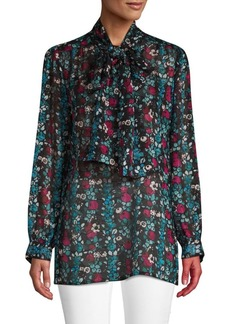 Anna Sui Graphic Tie-Front Blouse