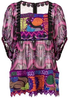 Anna Sui Kosmik Kaleidoscope embroidered top