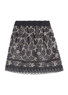 Anna Sui Lace Appliqué Mini Skirt
