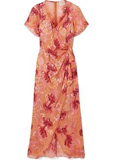 Anna Sui Lotus Pod Devoré Silk-blend Chiffon Midi Dress