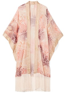 Anna Sui Love In The Mist Fringed Fil Coupé Chiffon Kimono