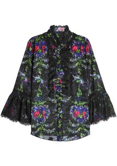 Anna Sui Printed Blouse with Lace