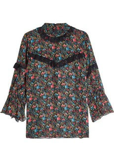 Anna Sui Printed Silk Blouse with Lace