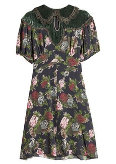 Anna Sui Printed Silk Dress with Velvet