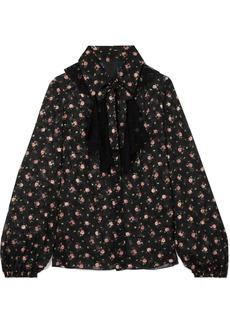 Anna Sui Pussy-bow Lace-trimmed Floral-print Devoré-georgette Blouse