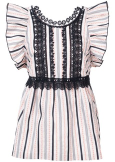 Anna Sui ribbon stripe and daisy song top