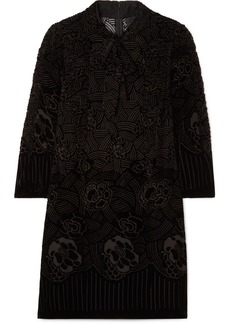 Anna Sui Rose Basket Devoré-velvet Mini Dress