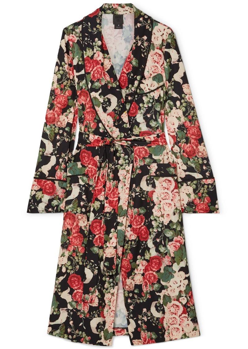 Rose Garland Floral-print Crepe Robe